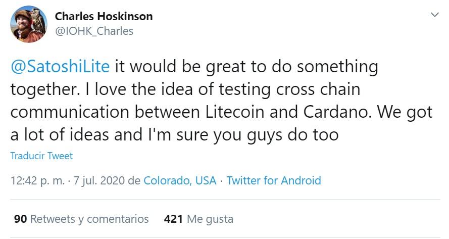 Tweet Charles Hoskinson