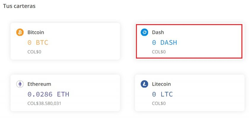 Billetera de DASH disponible en las cuentas de Localcryptos. Imagen extraída de LocalCryptos