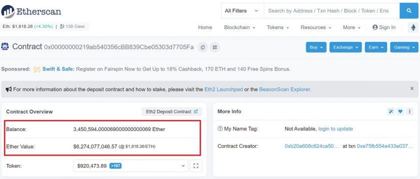 Contrato inteligente para Ethereum 2.0 ya supera los 3,4 millones de ETH depositados. Imagen de Etherscan.io