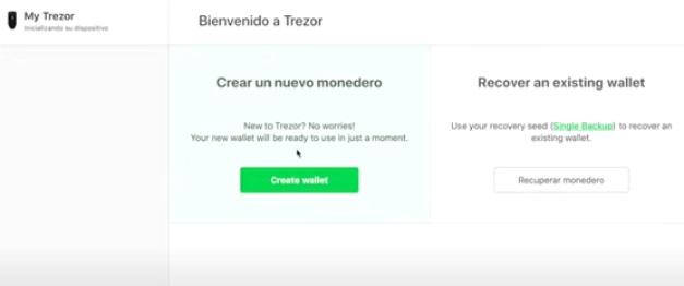 Creando un nuevo monedero. Imagen de la página web de Trezor