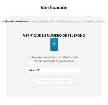 Proceso de registro y verificación. Imagen de Paybis