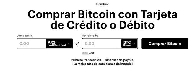 Interfaz para realizar operaciones comerciales a través de Paybis. Imagen de Paybis