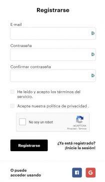 Indicar correo electrónico y contraseña. Imagen de Paybis