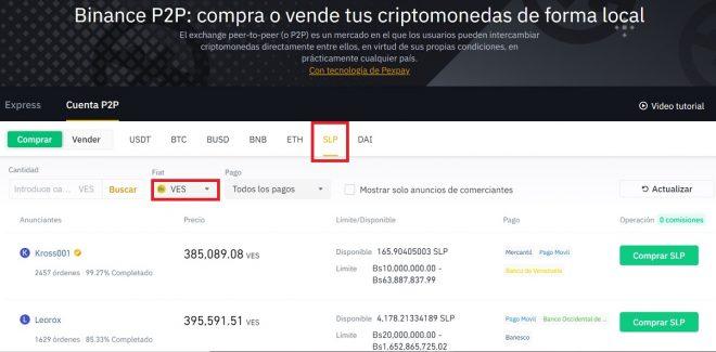 Buy / Sell SLP for sovereign bolivars through Binance P2P