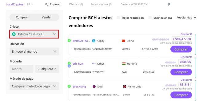 Bitcoin Cash disponible para operaciones comerciales